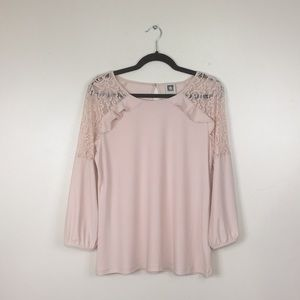 Anne Klein Pale Blush Pink Lace Trim Blouse